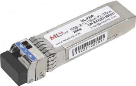Модуль для интерфейса SFP+. Модуль для одного волокна MLaxLink ML-P20R, скорость передачи 10Гб/c, дальность до 20км.